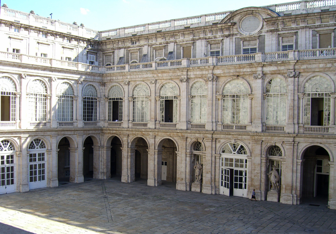 A courtyard full of sun of the UNESCO World Heritage Site El Escorial, officially known as the Royal Monastery of San Lorenzo de El Escorial, in Spain.
