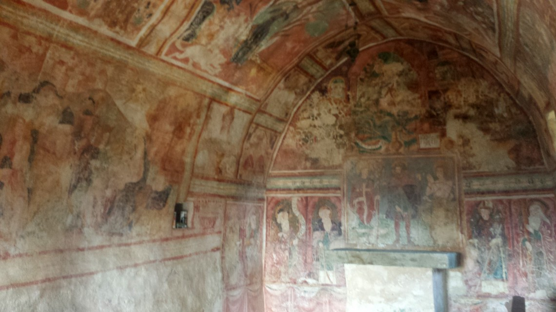 Interior view of the Church of St. Rok, Draguc, with frescoes in Istria, Croatia.