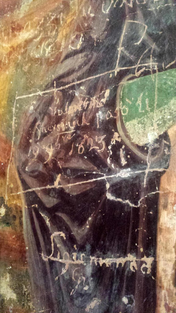 Graffiti from 1623 on frescoes in Istria, Croatia