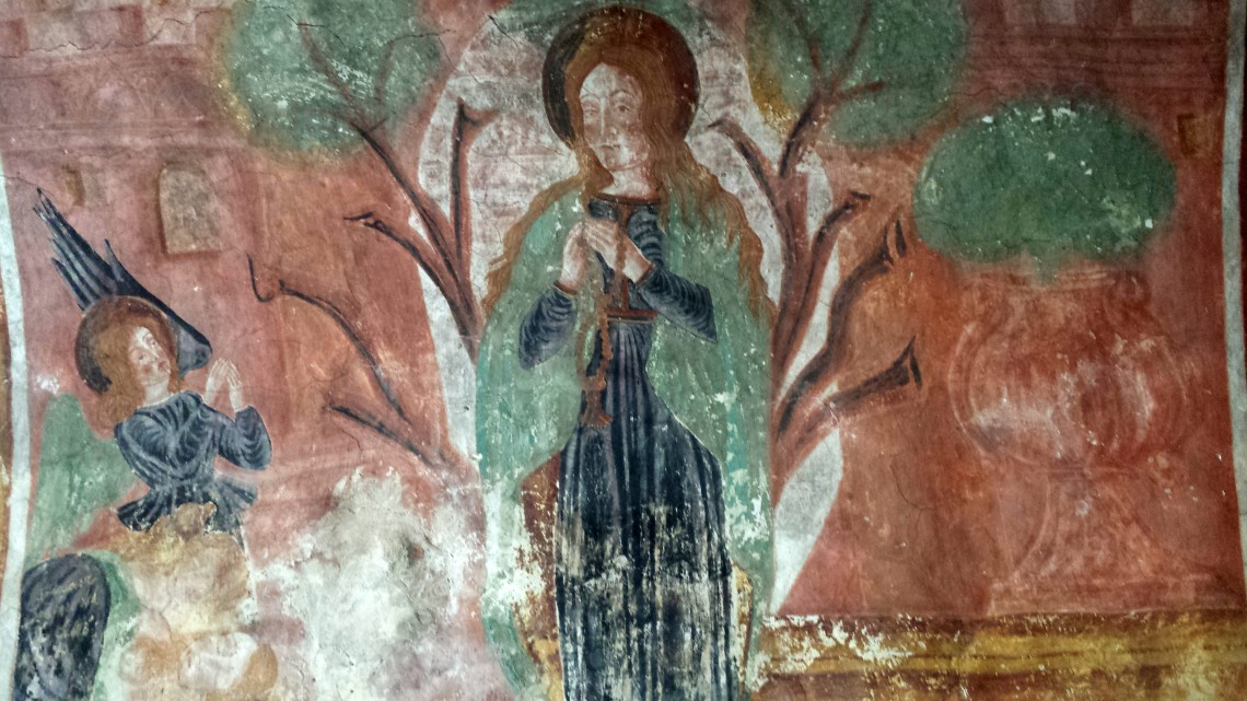Close up of one of the frescos in Istria, Croatia