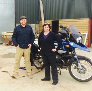 Picking up our BMW GS for our motorcycle travel from Motofeirme in Cork, Ireland