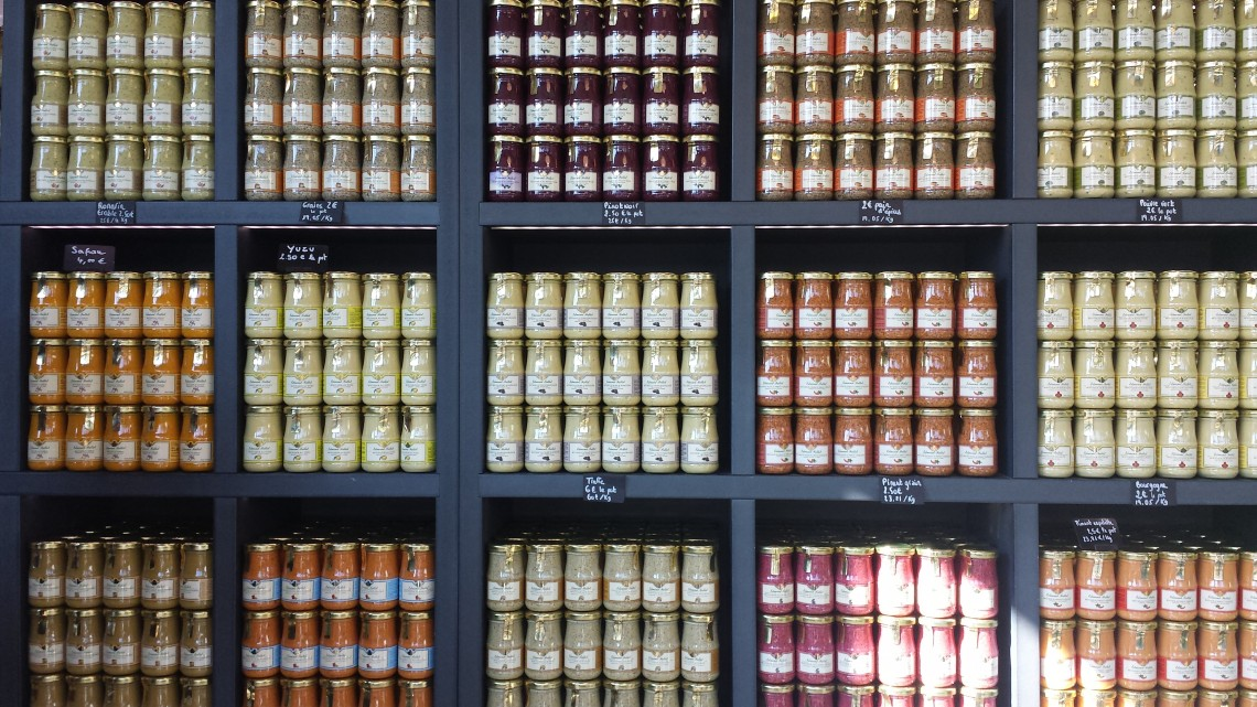 Wide variety of gourmet mustard to taste and purchase at Fallot in Beaune, France