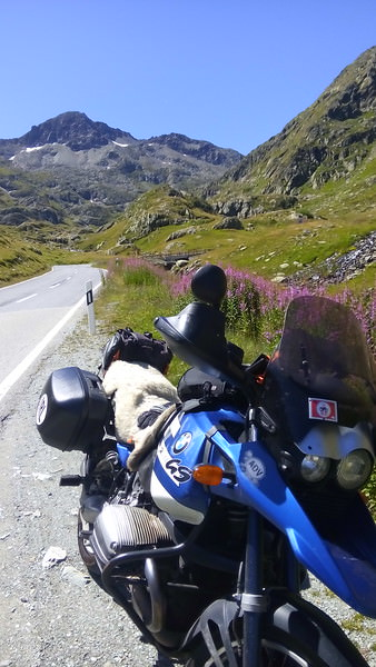 BMW GS on the Great Saint Bernard Pass in Switzerland during our motorcycle travel