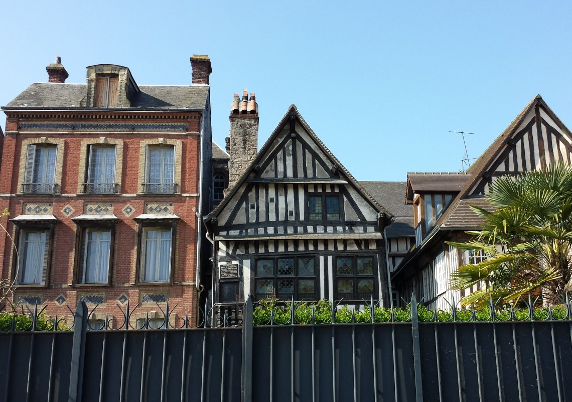 A look at an old building in Honfleur, France, Normandy base for exploration.