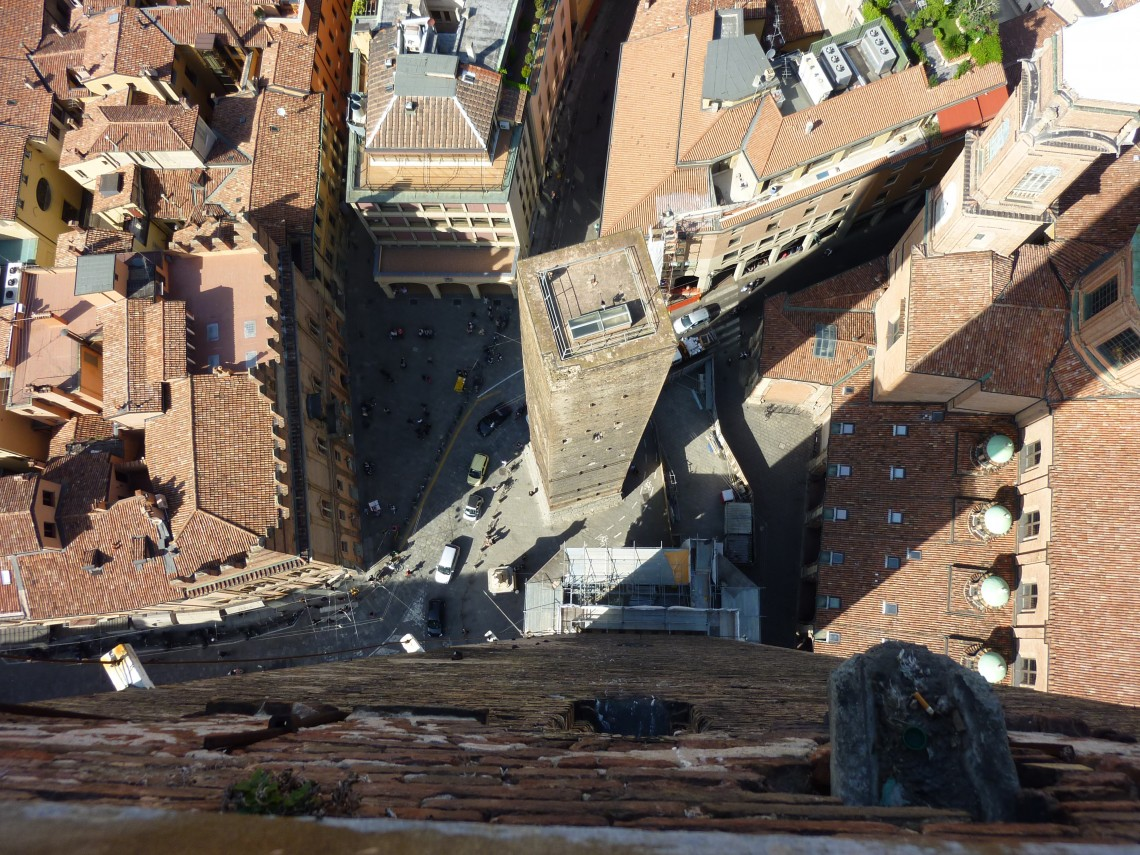 Asinelli Tower (Torre degli Asinelli) offers the best view of the red terracotta roofline of Bologna, Italy.