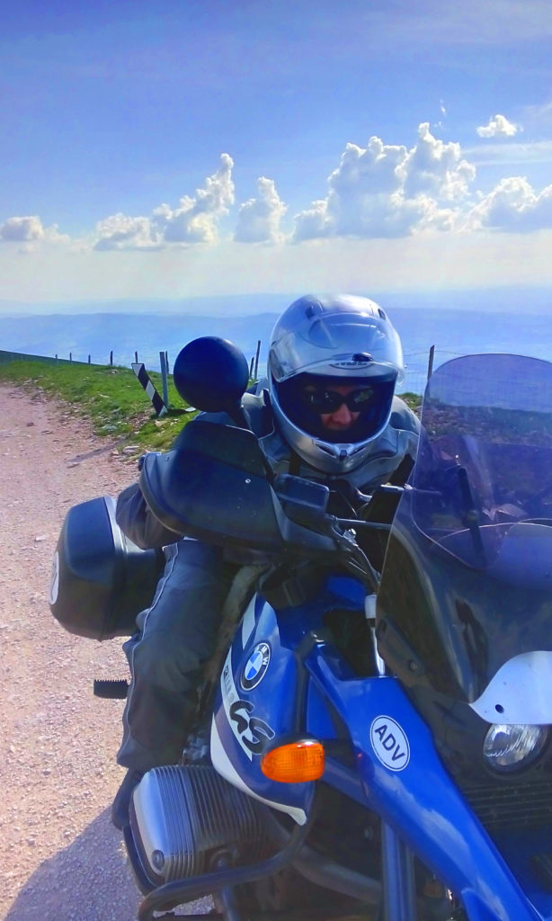 BMW GS Motorcycle Over Mt Subasio Italy